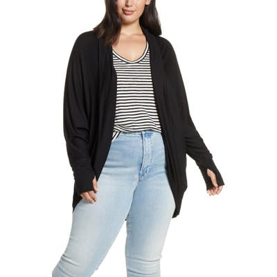 Plus Size Caslon Off Duty Knit Cardigan, Black