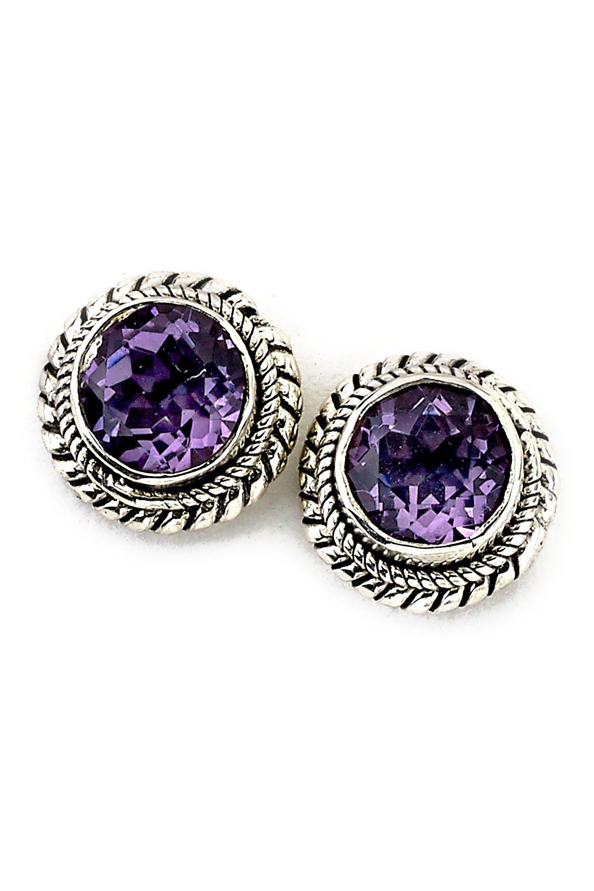 Image of Samuel B Jewelry Sterling Silver Round Amethyst Stud Earrings