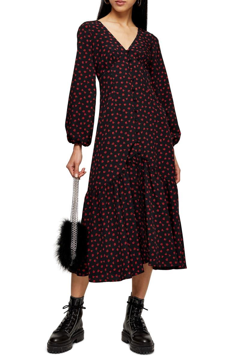 TOPSHOP Rose Long Sleeve Shirtdress, Main, color, 001