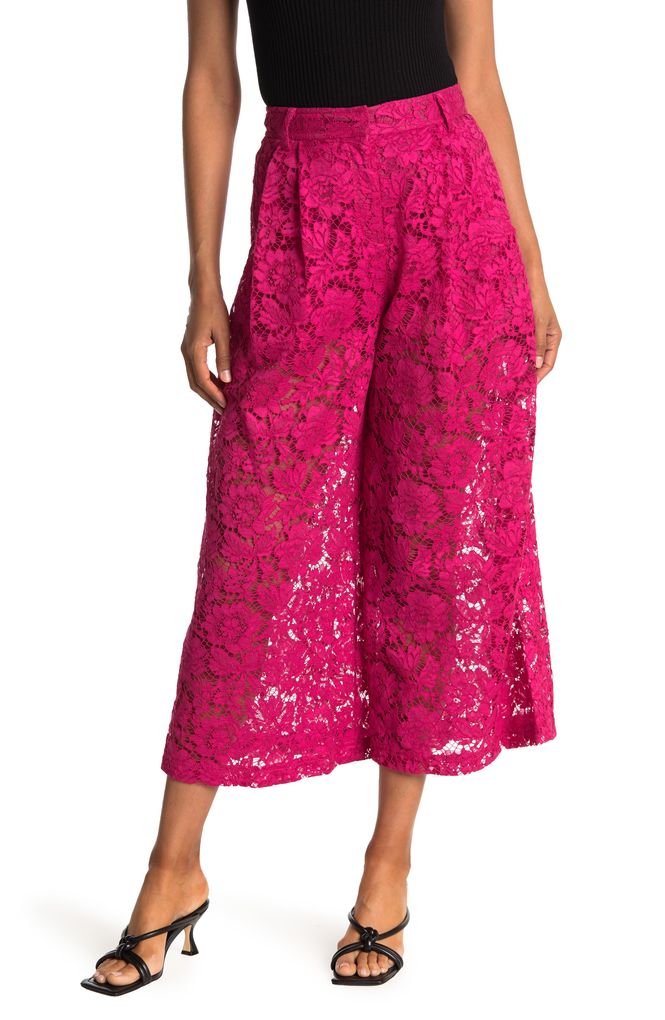 Valentino High Waisted Floral Lace Culotte Pants In Raspberry