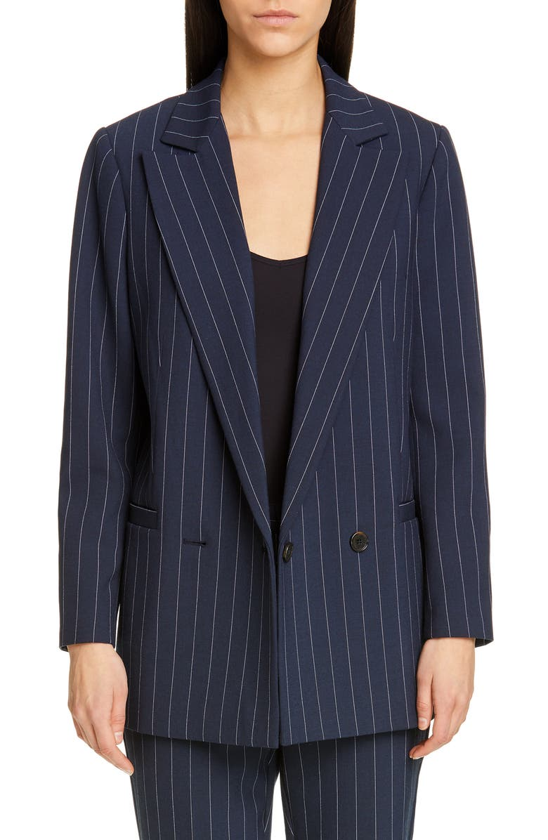 GANNI Stripe Suiting Blazer, Main, color, TOTAL ECLIPSE