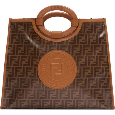 Fendi Medium Runaway Logo Shopper - Brown