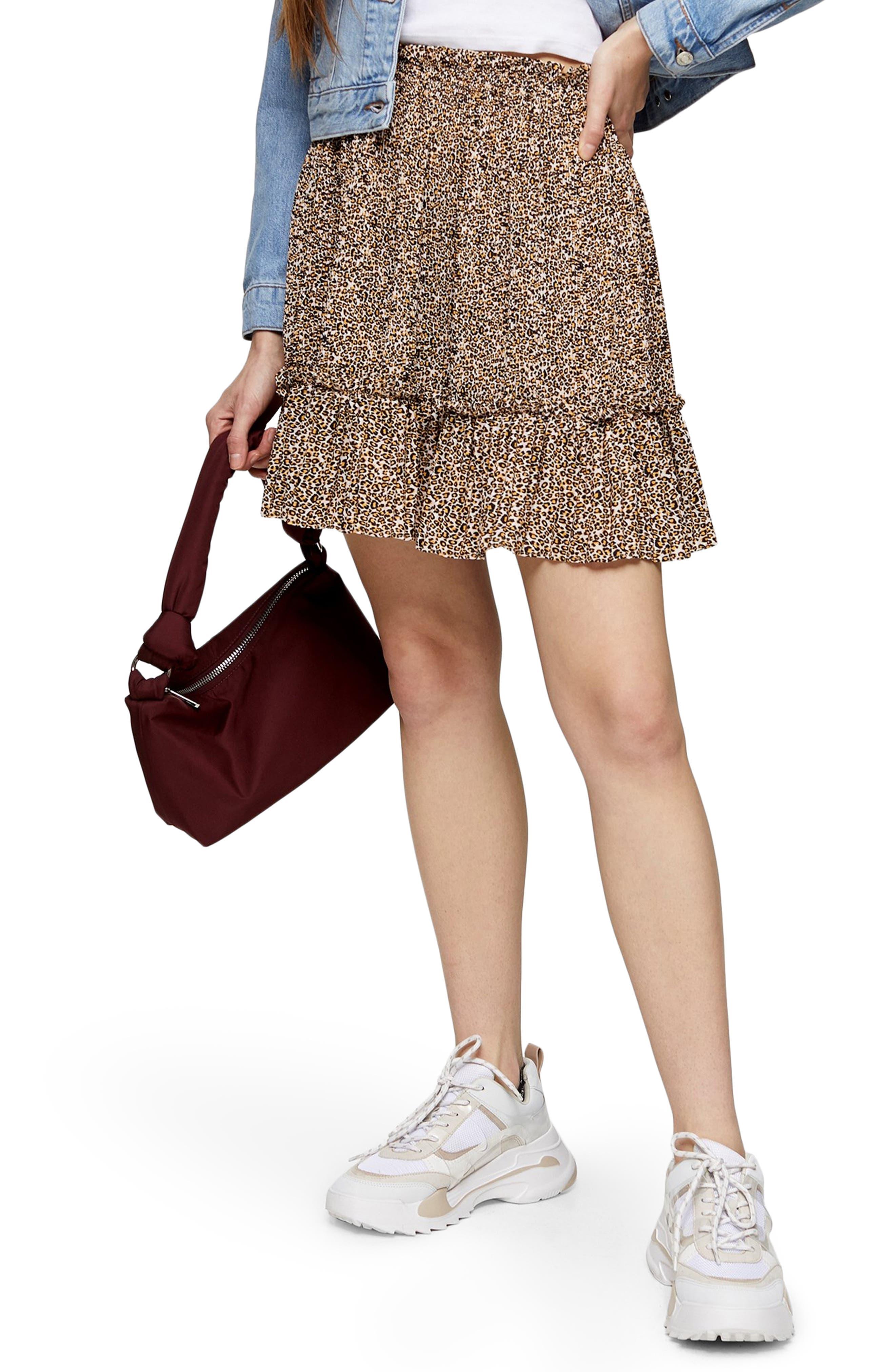 Topshop Crystal Animal Print Miniskirt | Nordstrom