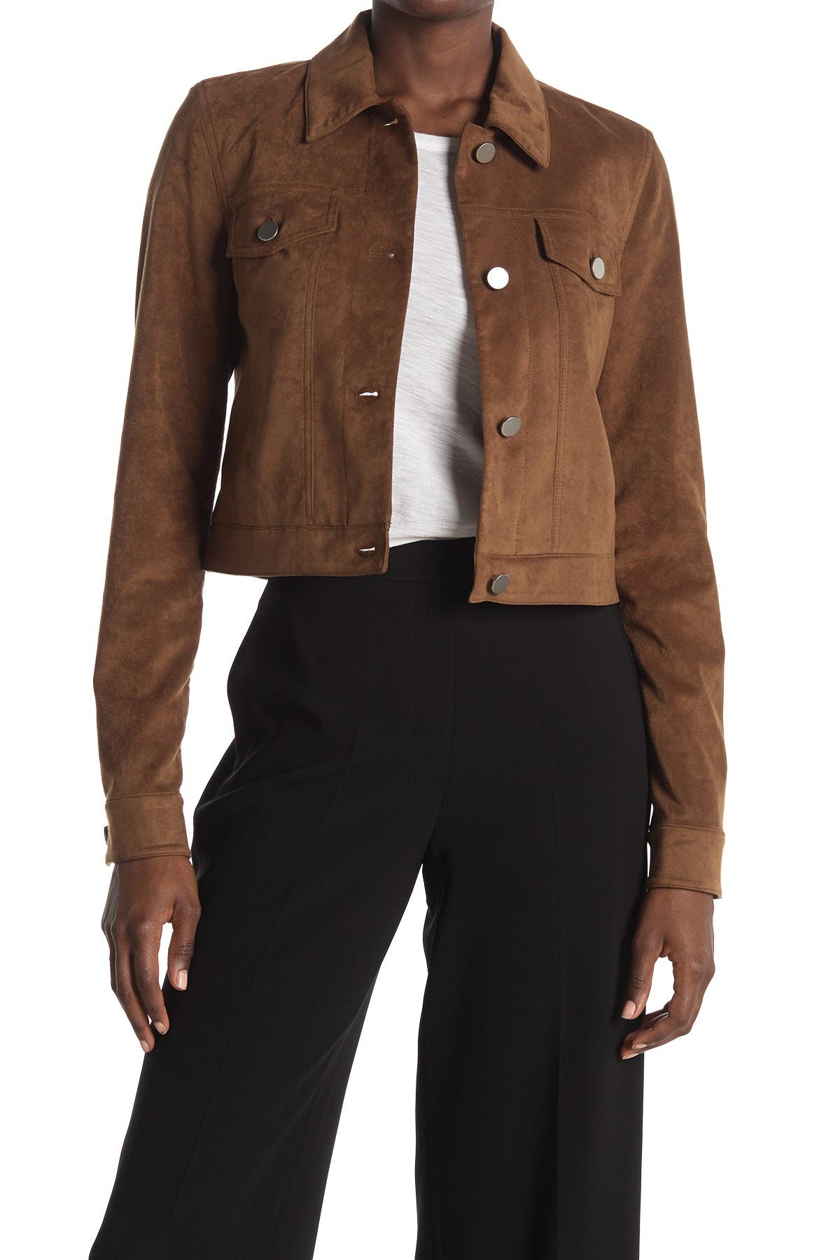 Image of Theory Faux Suede Button Front Jacket