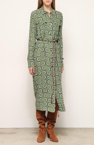 Mandalyn Print Long Sleeve Midi Shirtdress, video thumbnail