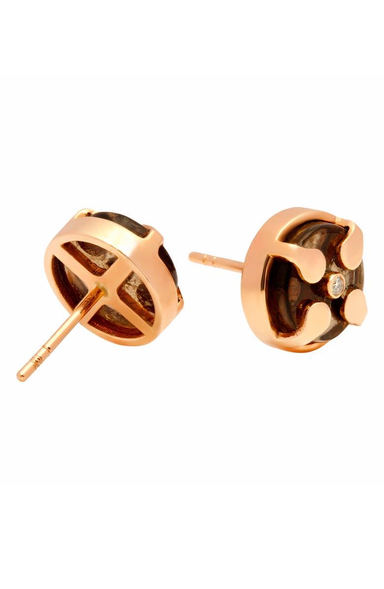 CONGÉS Bring Serenity Smoky Quartz Stud Earrings, Main, color, ROSE GOLD