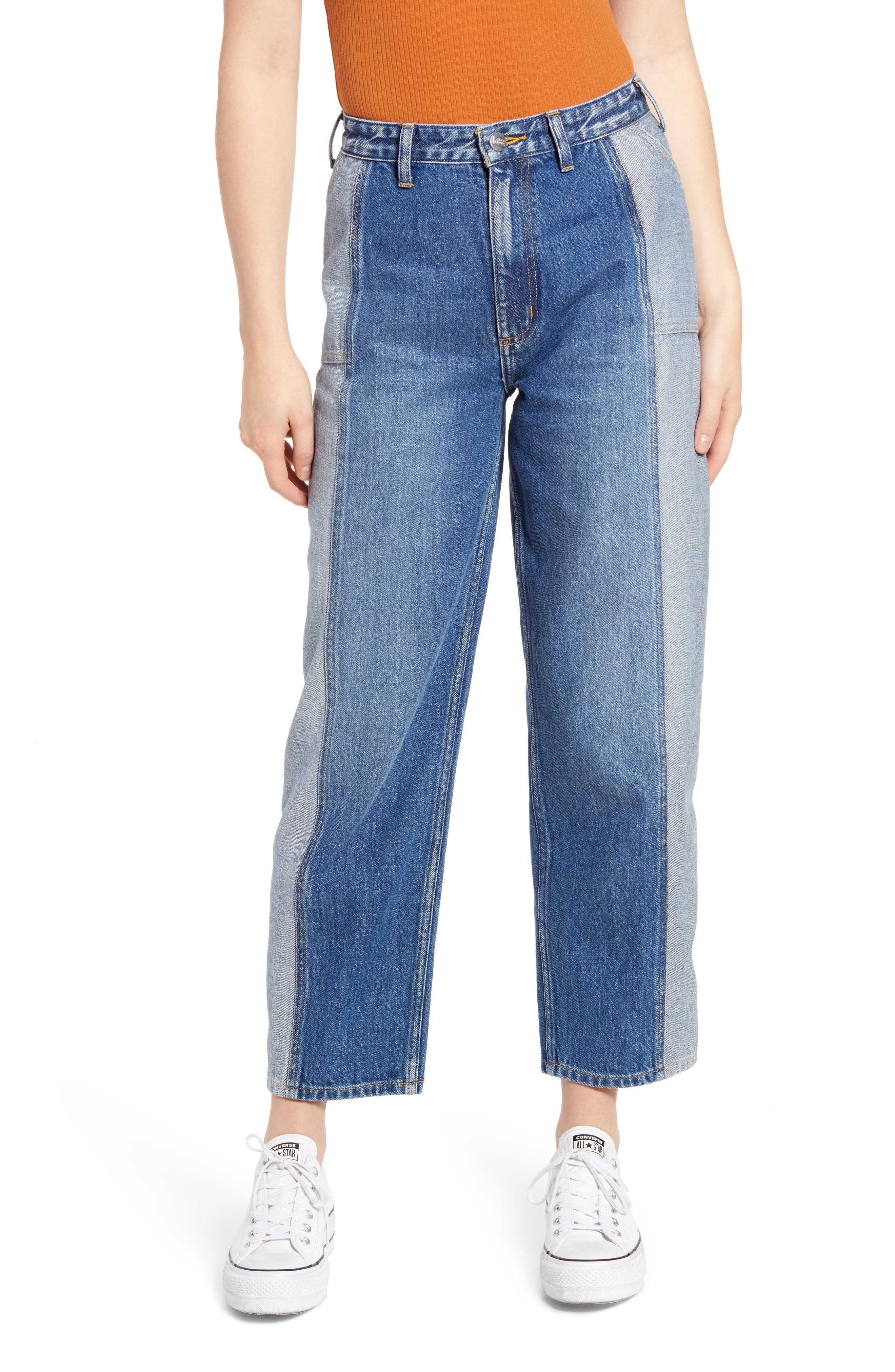 Two-Tone Seamed Stovepipe Jeans