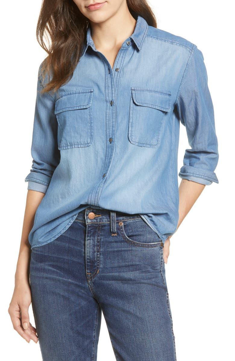 CASLON<SUP>®</SUP> Button Front Cotton Chambray Shirt, Main, color, 420