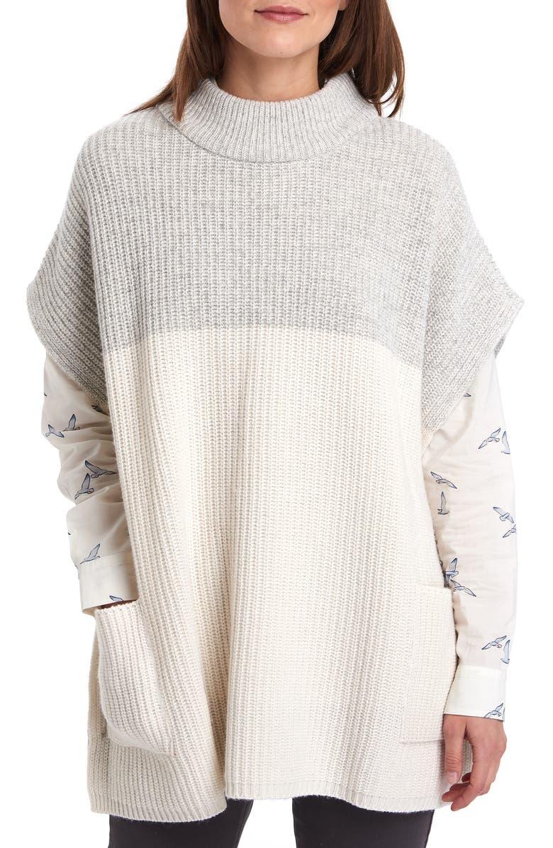 BARBOUR Dipton Wool Blend Cape, Main, color, CLOUD/ GREY MARL