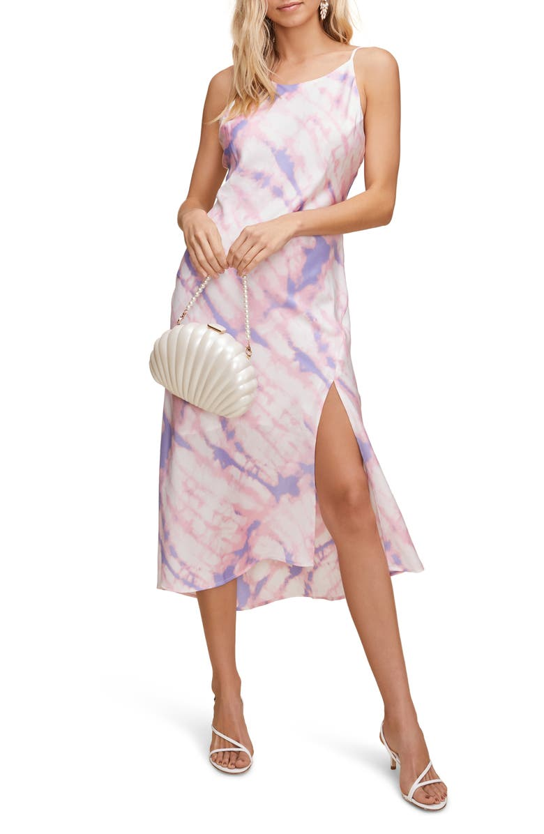 ASTR THE LABEL Bias Cut Sleeveless Satin Midi Dress, Main, color, PURPLE/ PINK TIE DYE