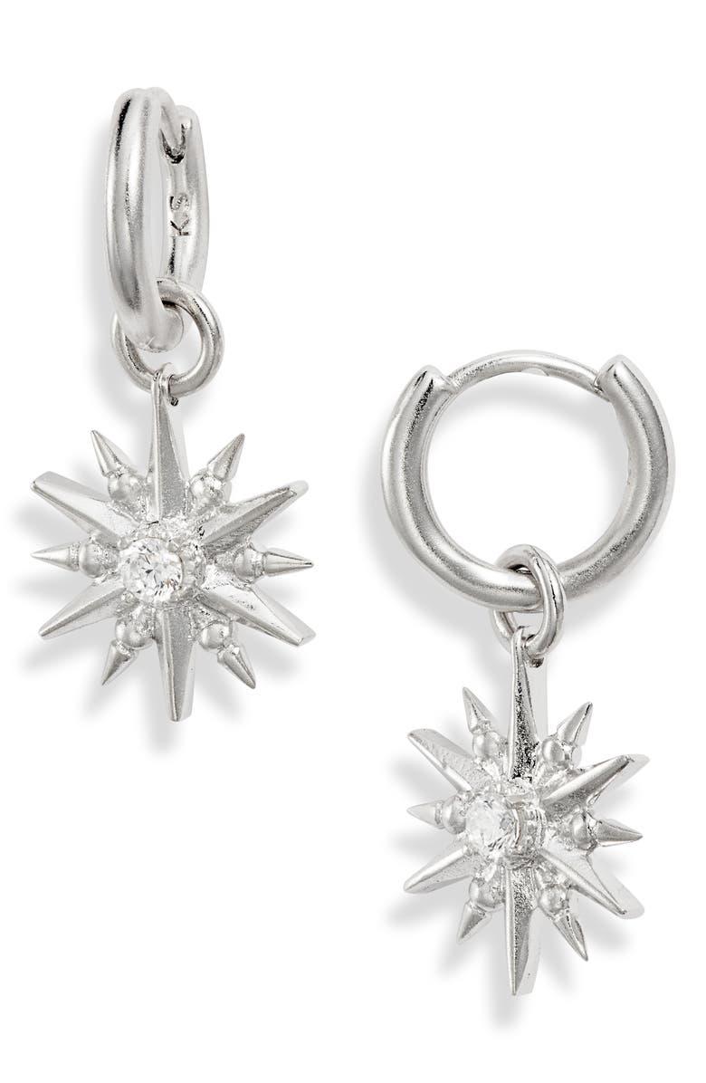 KENDRA SCOTT Starburst Huggie Hoop Earrings, Main, color, VINTAGE SILVER/ WHITE CZ