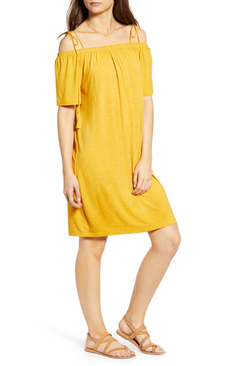 NOISY MAY Karo Cold Shoulder Dress, Main, color, GOLDEN ROD