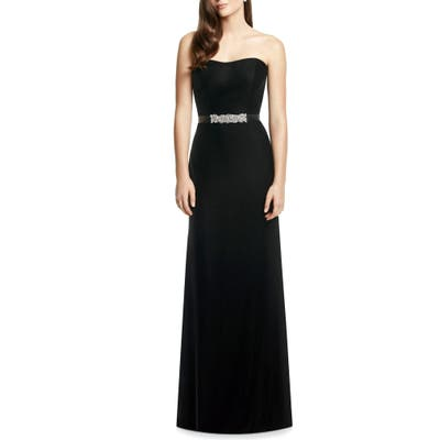Dessy Collection Embellished Belt Strapless Velvet Gown, Black