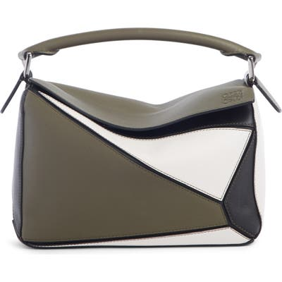 Loewe Small Puzzle Colorblock Leather Bag - Green