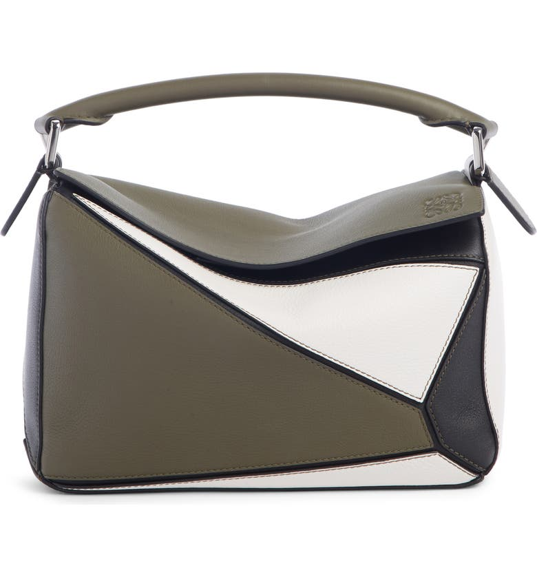 LOEWE Small Puzzle Colorblock Leather Bag, Main, color, KHAKI GREEN/ SOFT WHITE