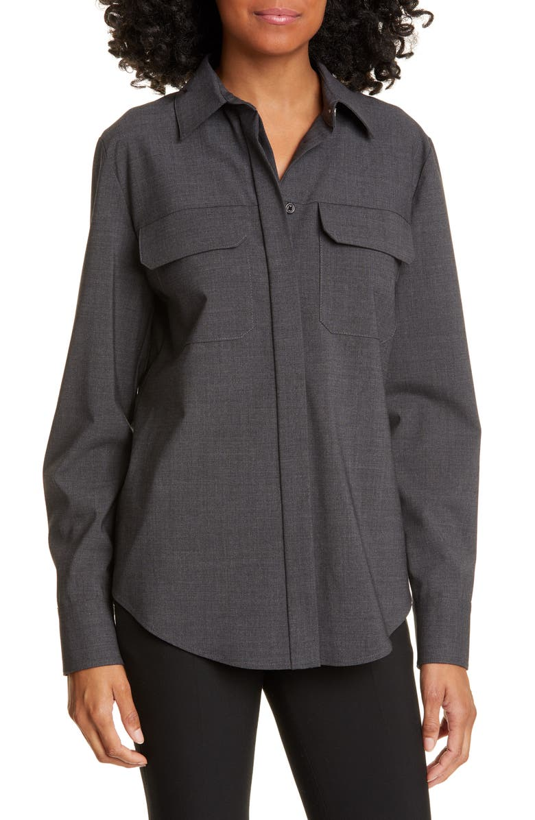 JUDITH & CHARLES Stretch Wool Blouse, Main, color, CHARCOAL