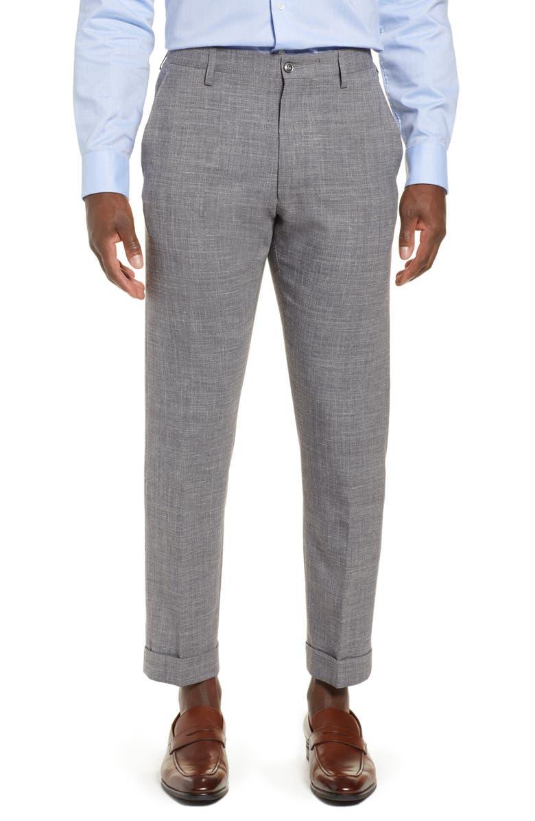 ZANELLA Noah Flat Front Straight Leg Stretch Trousers, Main, color, 052