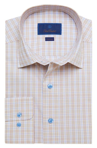David Donahue FUSION REGULAR FIT PLAID STRETCH DRESS SHIRT
