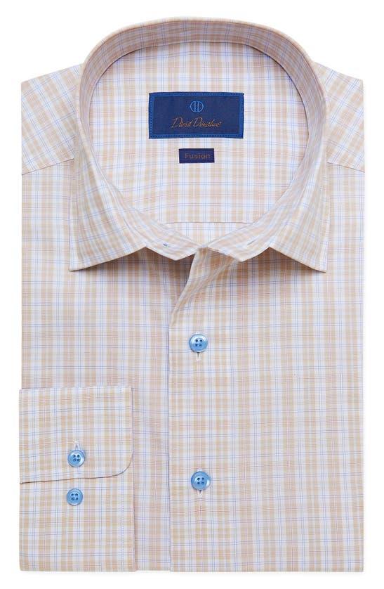 DAVID DONAHUE Cottons FUSION REGULAR FIT PLAID STRETCH DRESS SHIRT