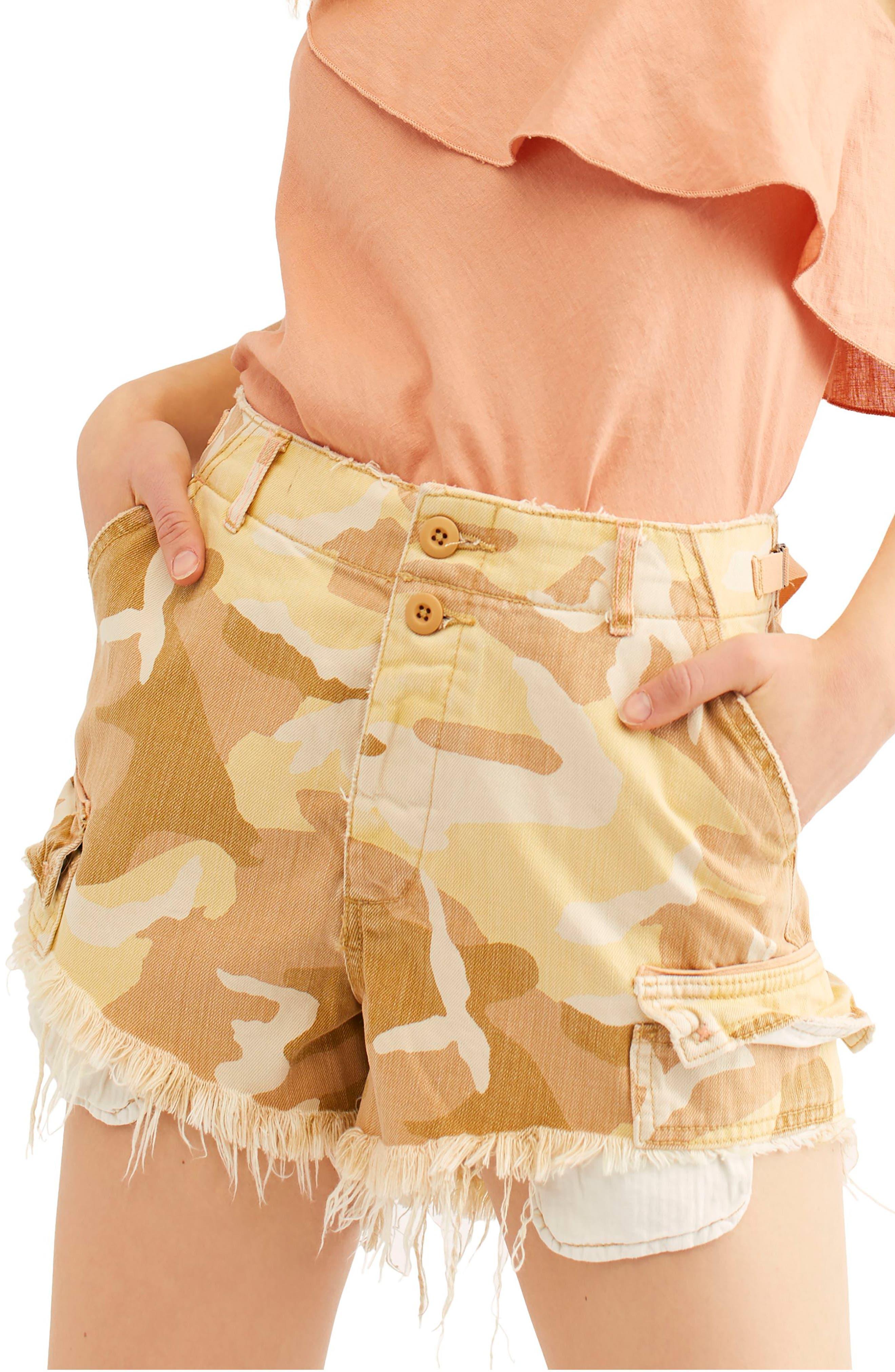 Free People Commander Cutoff Camo Shorts, Beige