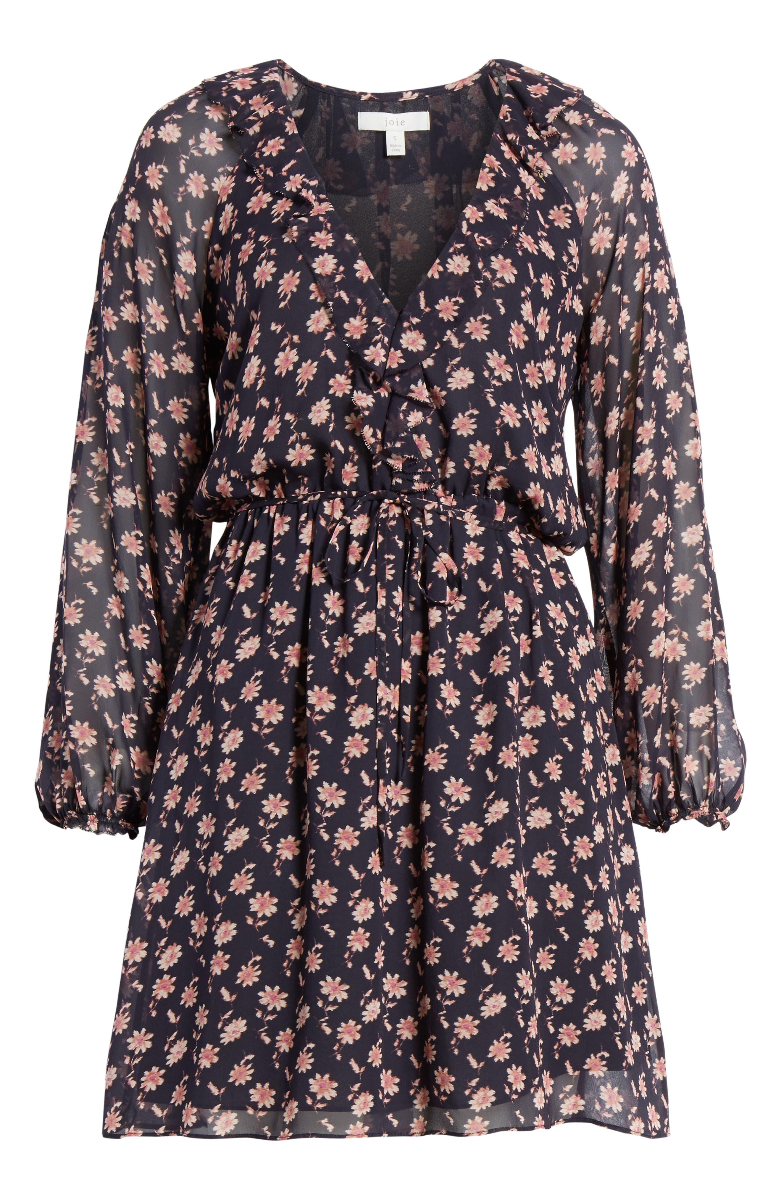 ,                             Marelle Ruffle Neck Long Sleeve Silk Dress,                             Alternate thumbnail 7, color,                             MIDNIGHT