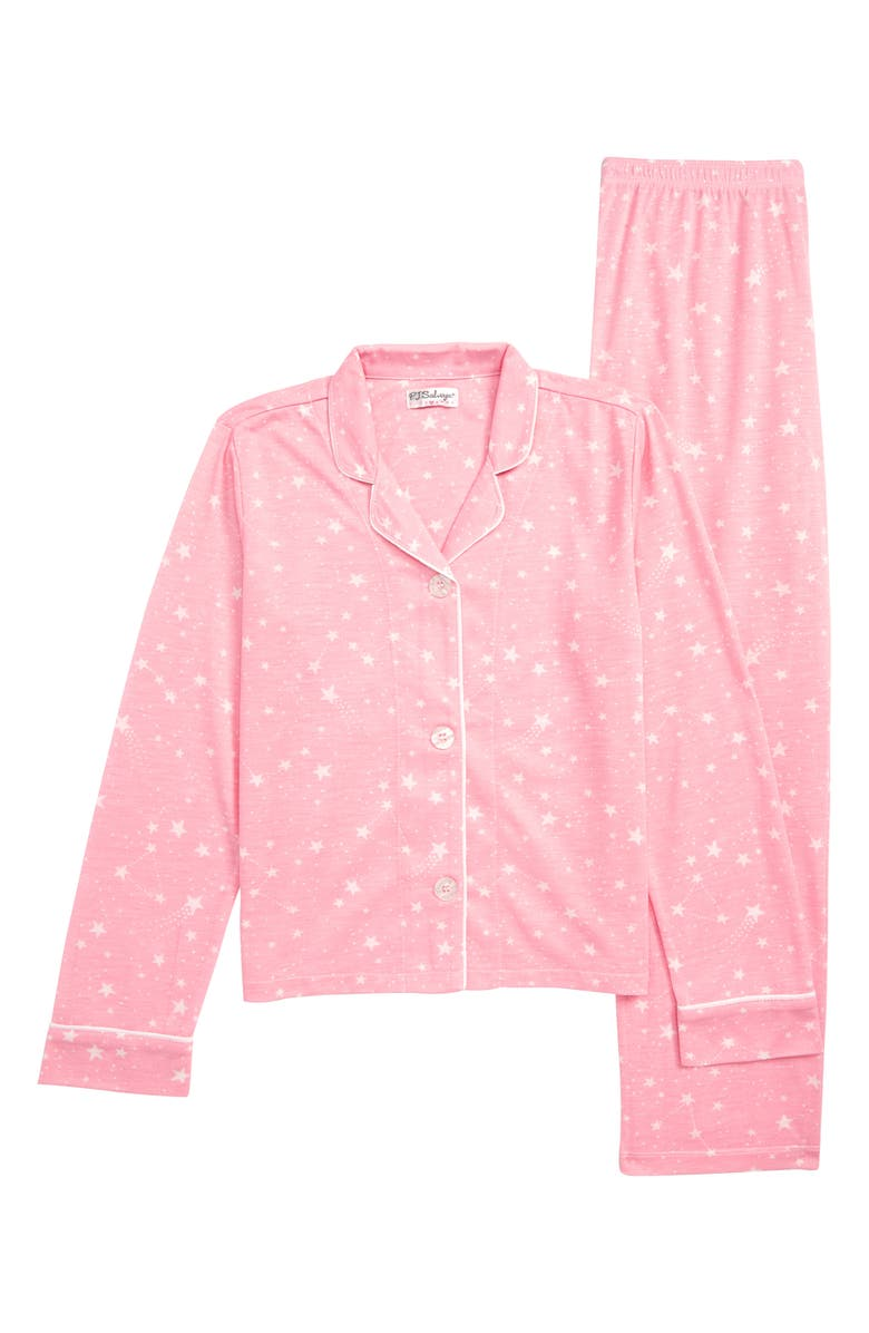 PJ SALVAGE Star Print Two-Piece Pajamas, Main, color, PINK
