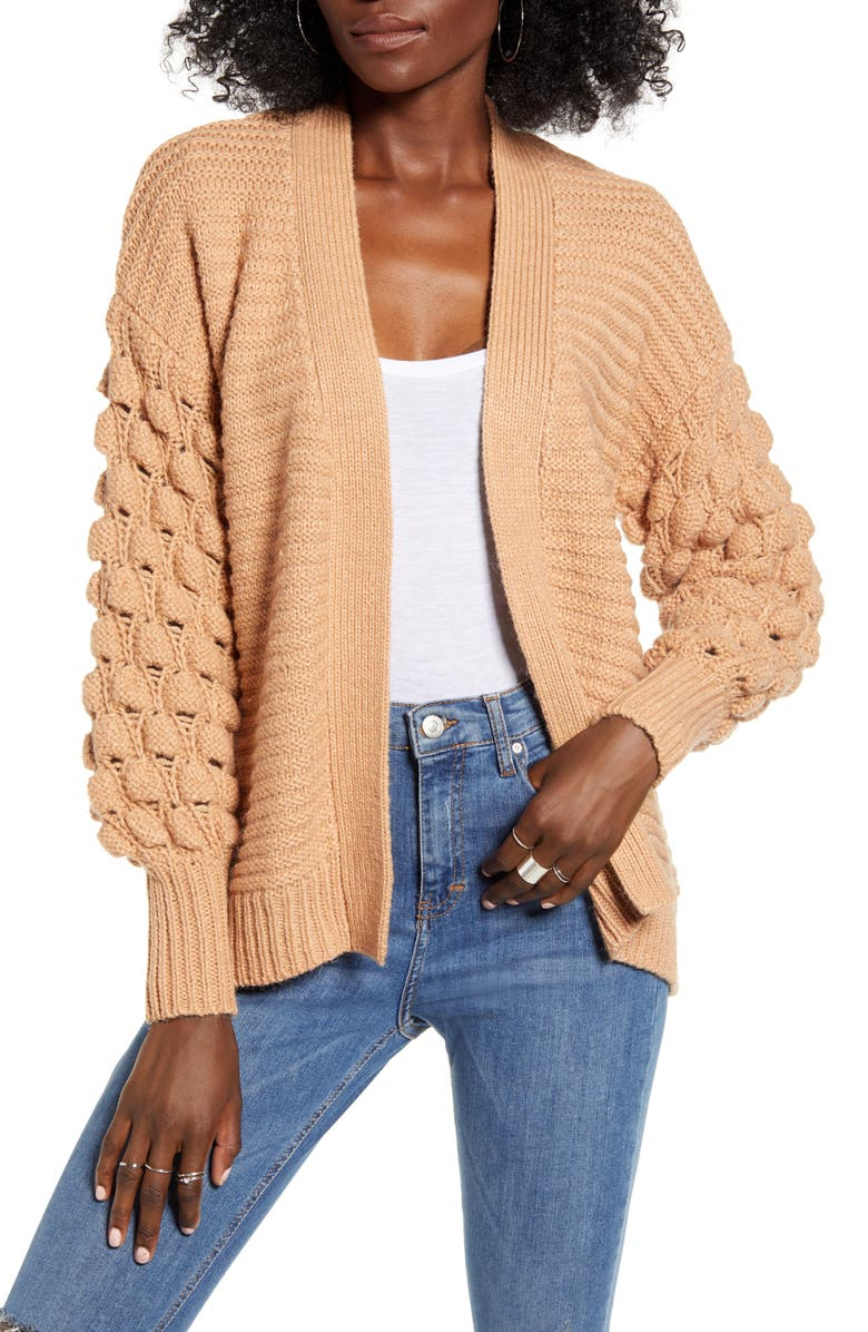 LOVE BY DESIGN Bubble Sleeve Cardigan, Main, color, BEIGE