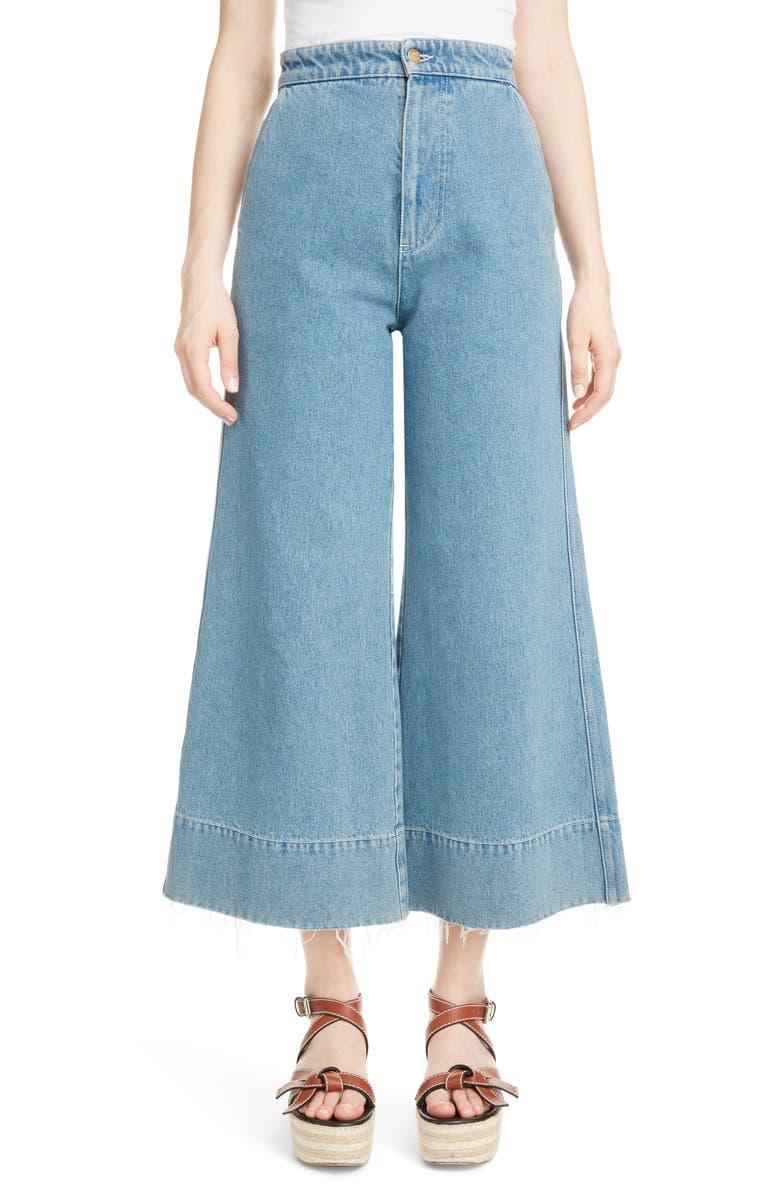 LOEWE Crop Wide Leg Jeans, Main, color, 400