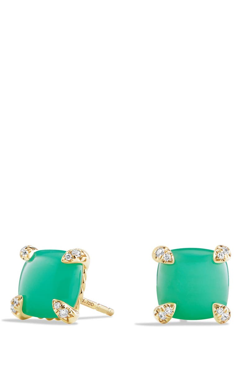 DAVID YURMAN 'Châtelaine' Earrings with Semiprecious Stones in 18K Gold, Main, color, CHRYSOPRASE
