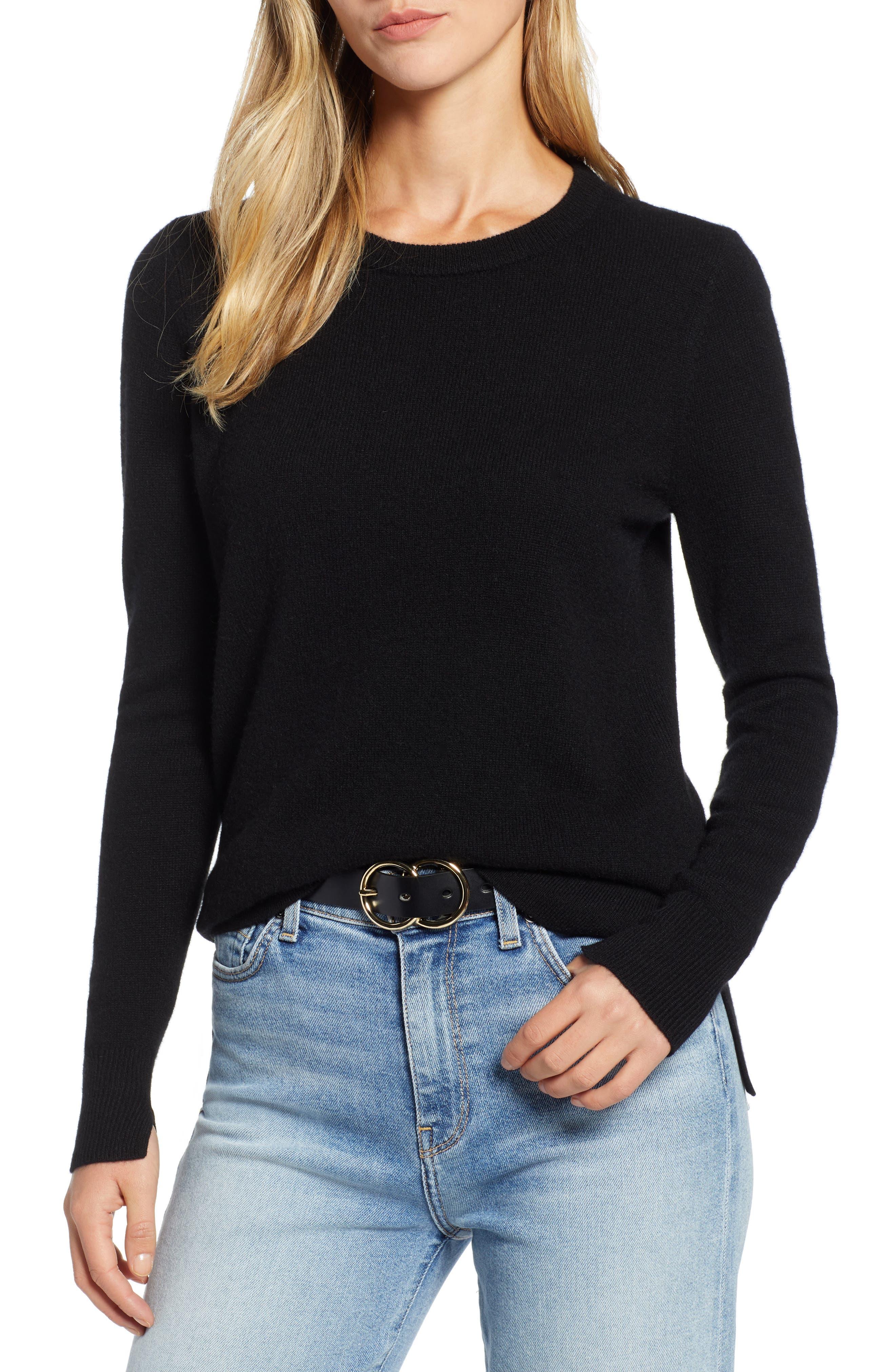 ,                             Crewneck Cashmere Sweater,                             Main thumbnail 241, color,                             001