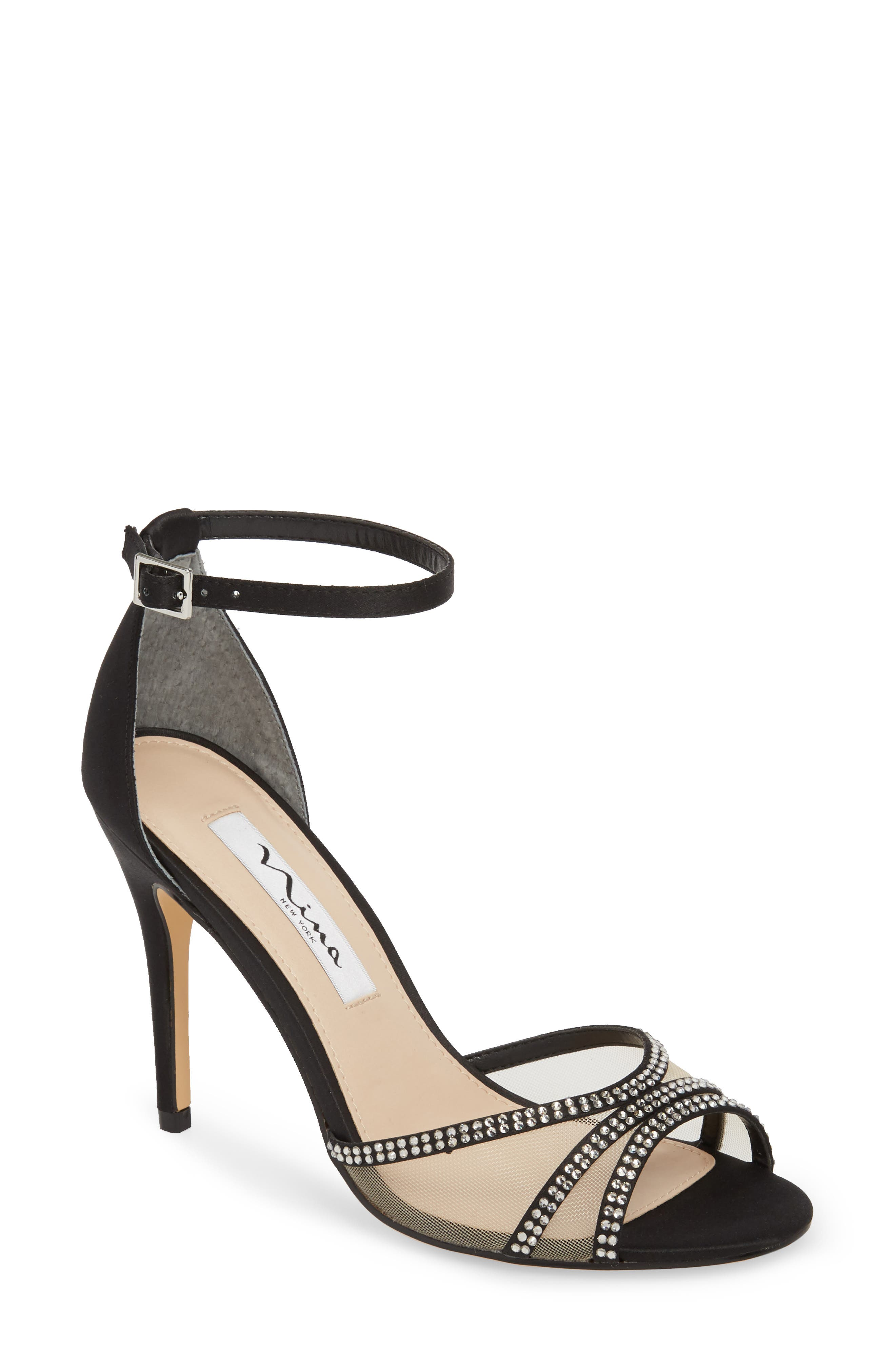 Calissa Sandal, Main, color, BLACK SATIN