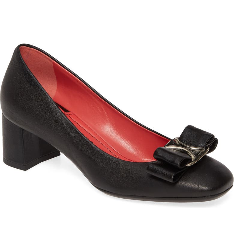 PAS DE ROUGE Chantel Bow Square Toe Pump, Main, color, BLACK LEATHER