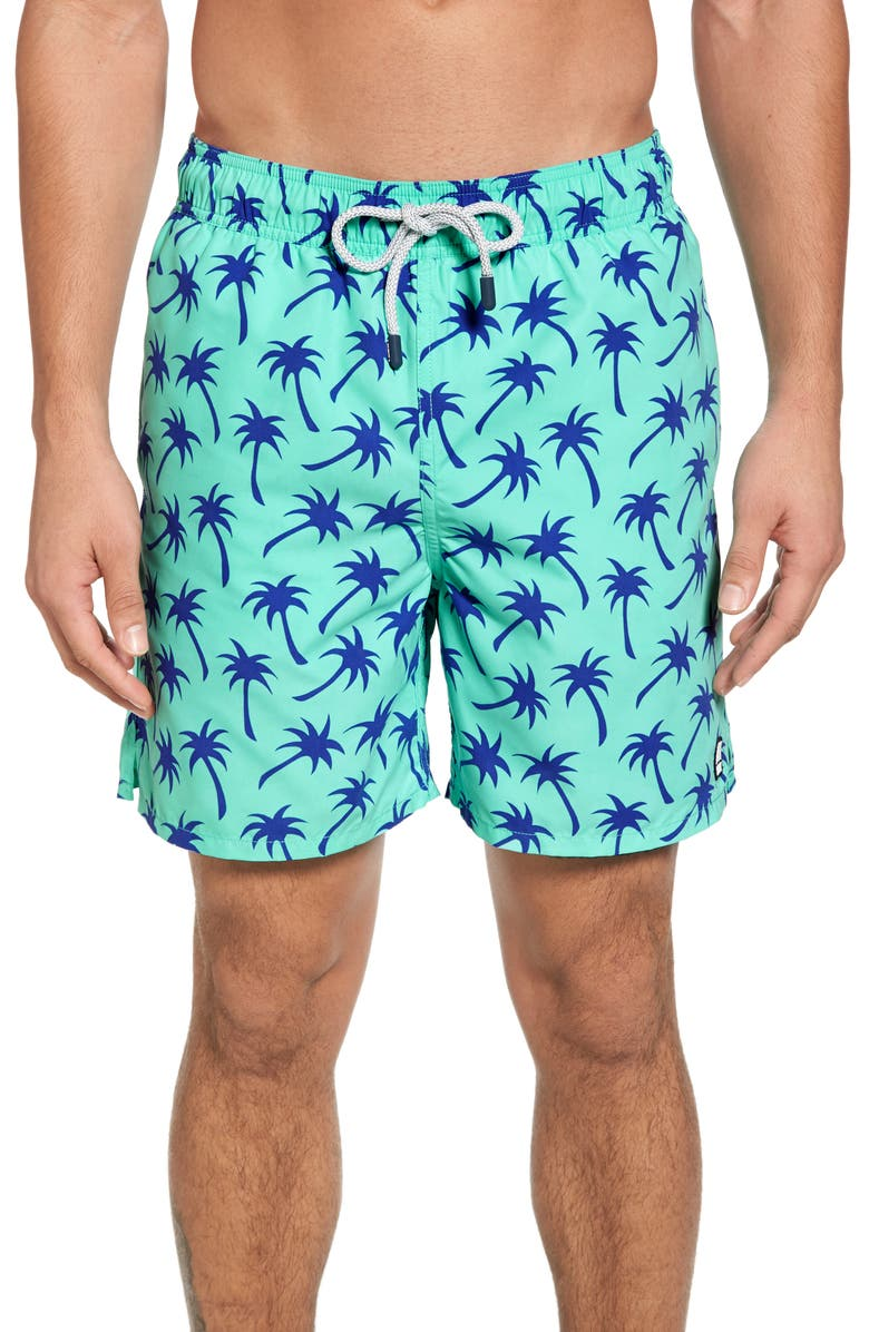 TOM & TEDDY Palm Tree Print Swim Trunks, Main, color, 331