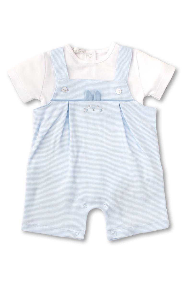 KISSY KISSY Bunny Buzz Bodysuit & Short Overalls Set, Main, color, BLUE