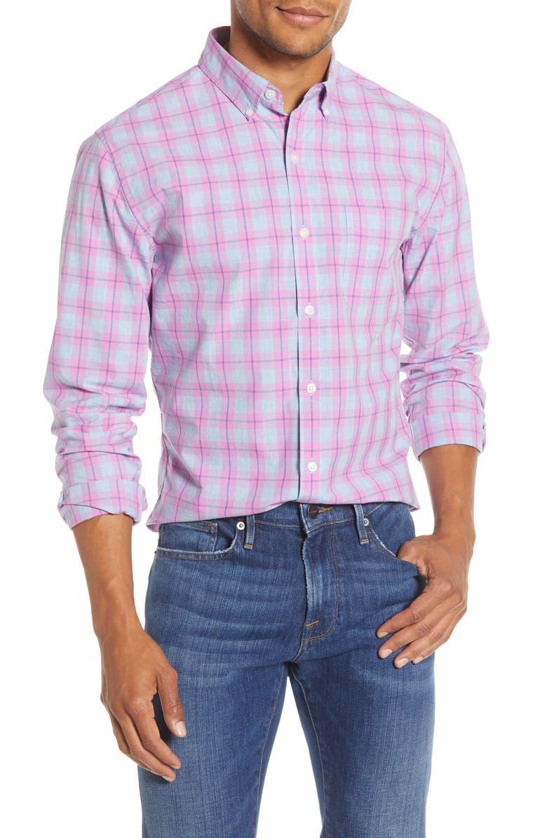 BONOBOS Slim Fit Summerweight Check Shirt, Main, color, BRYCE CHECK - SACHAT PINK