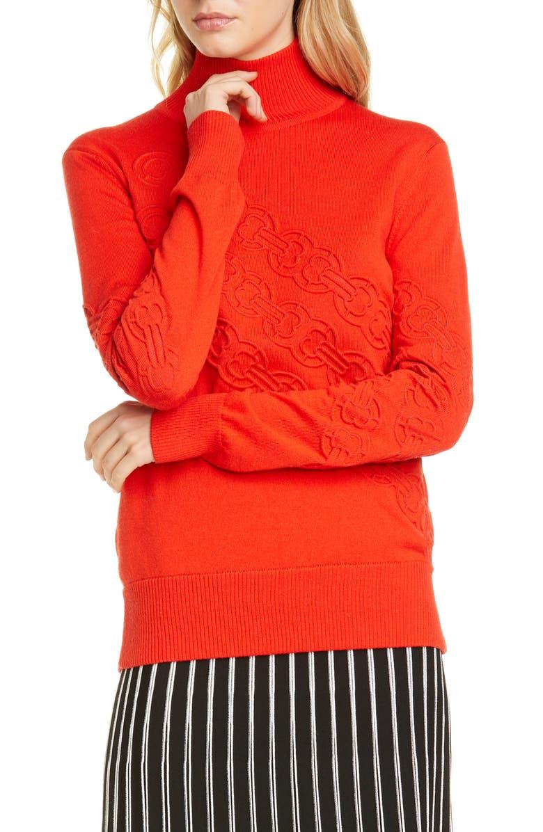 TORY BURCH Gemini Turtleneck Sweater, Main, color, RED