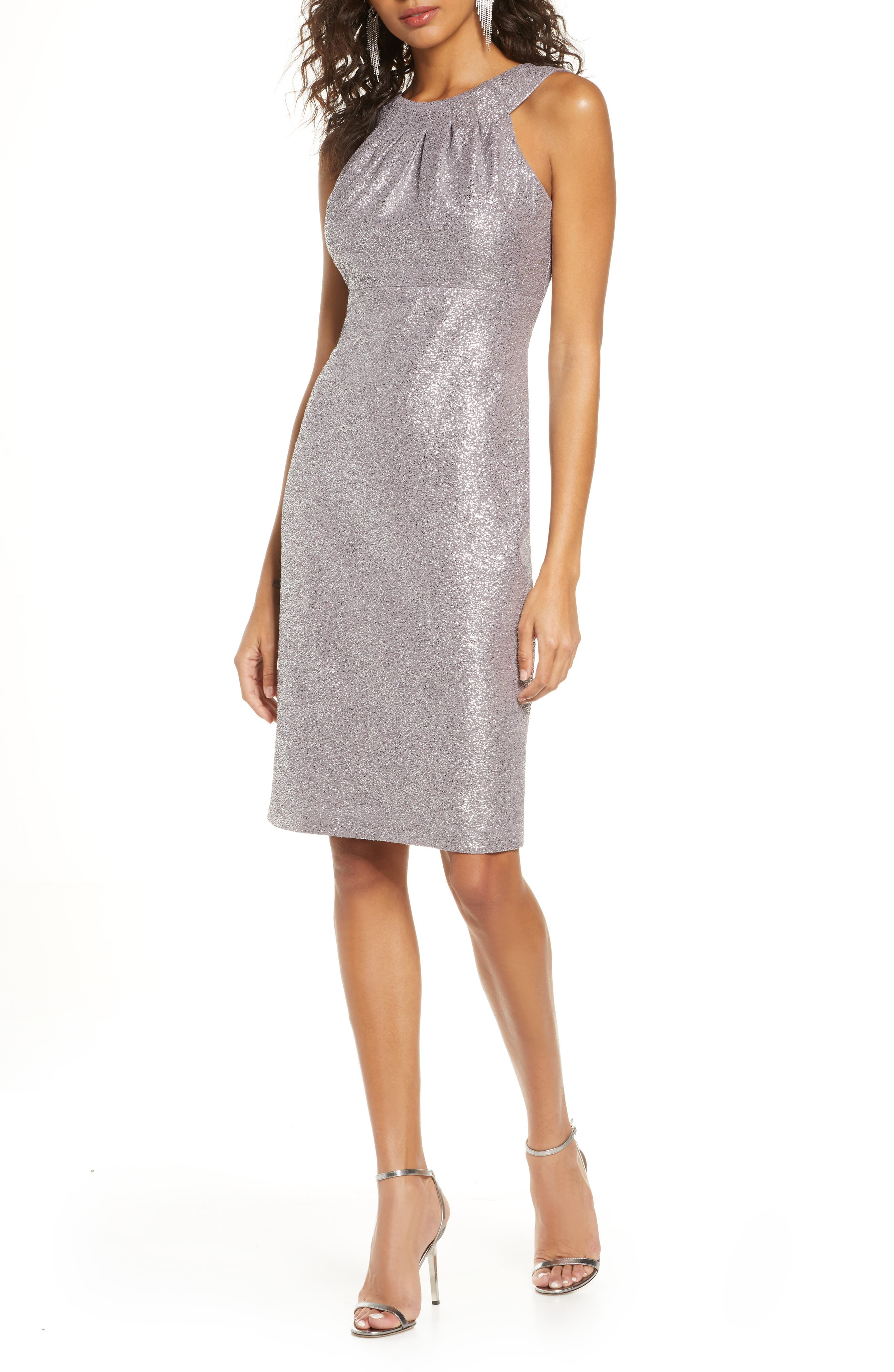 Image of Eliza J Sleeveless Halter Neck Short Dress