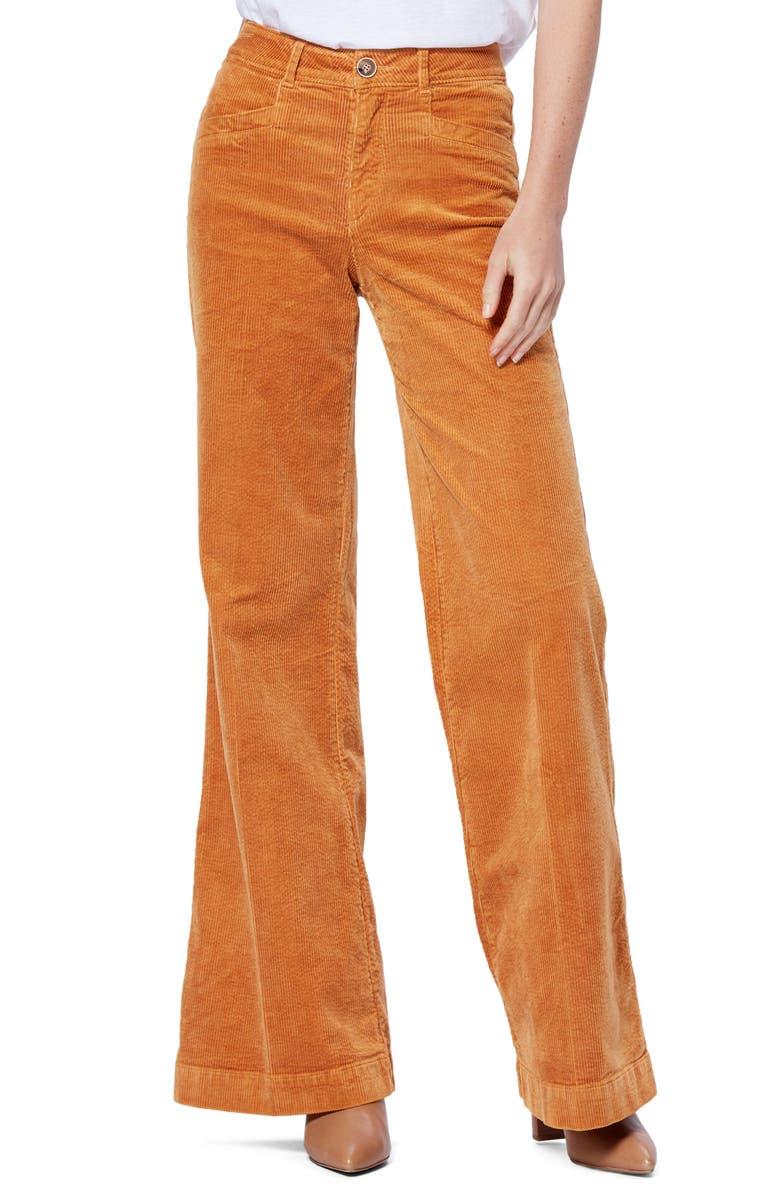 PAIGE Sutton Wide Leg Corduroy Pants, Main, color, MARIGOLD