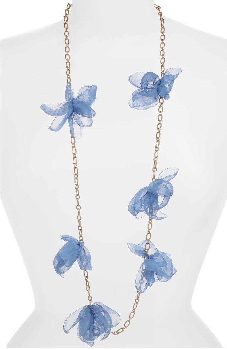 STELLA + RUBY Chiffon Petal Necklace, Main, color, 400