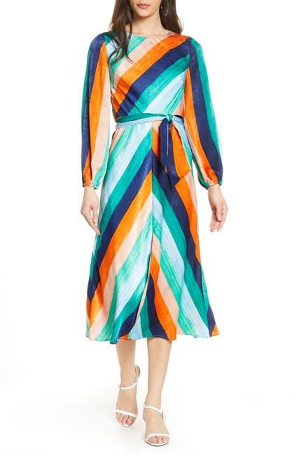 Image of Ali & Jay Sunset Skies Long Sleeve Stripe Satin Midi Dress