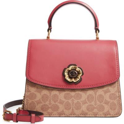 Coach Parker Signature Canvas & Leather Top Handle Bag - Pink