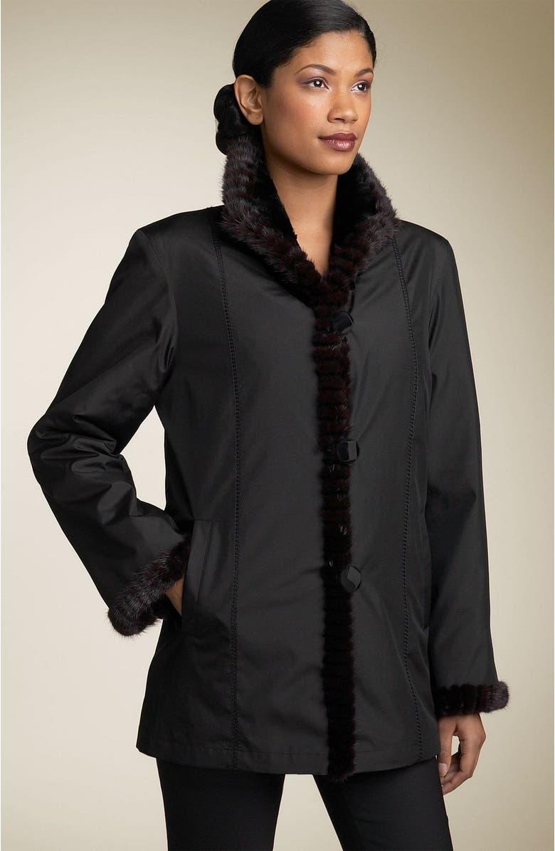 dcd27d0090c Autunno Reversible Silk Coat with Genuine Mink Fur | Nordstrom