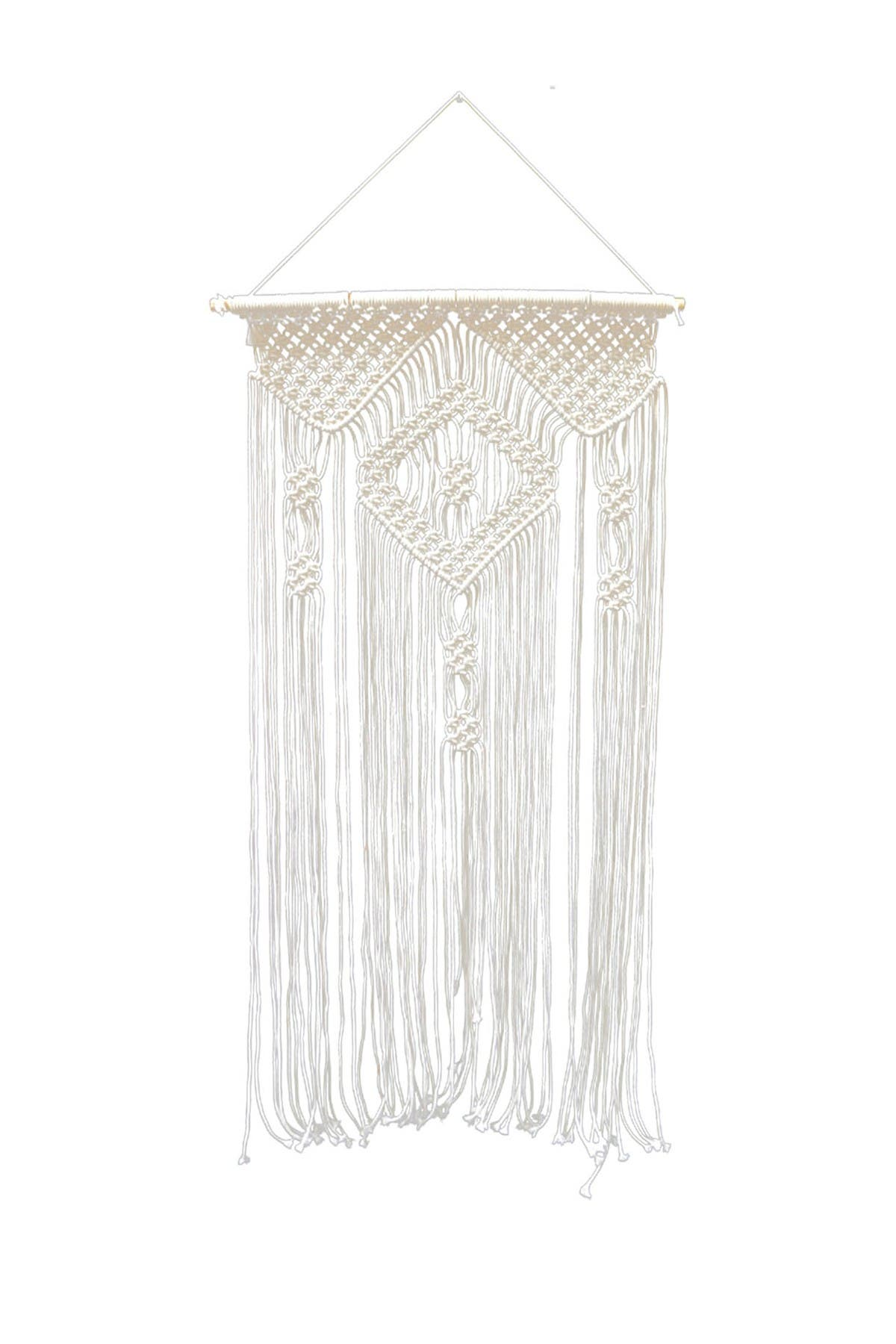 """Image of Concepts in Time 24"""" x 48"""" Large Twist Rope Diamond Crest Macrame Wall Hanging"""