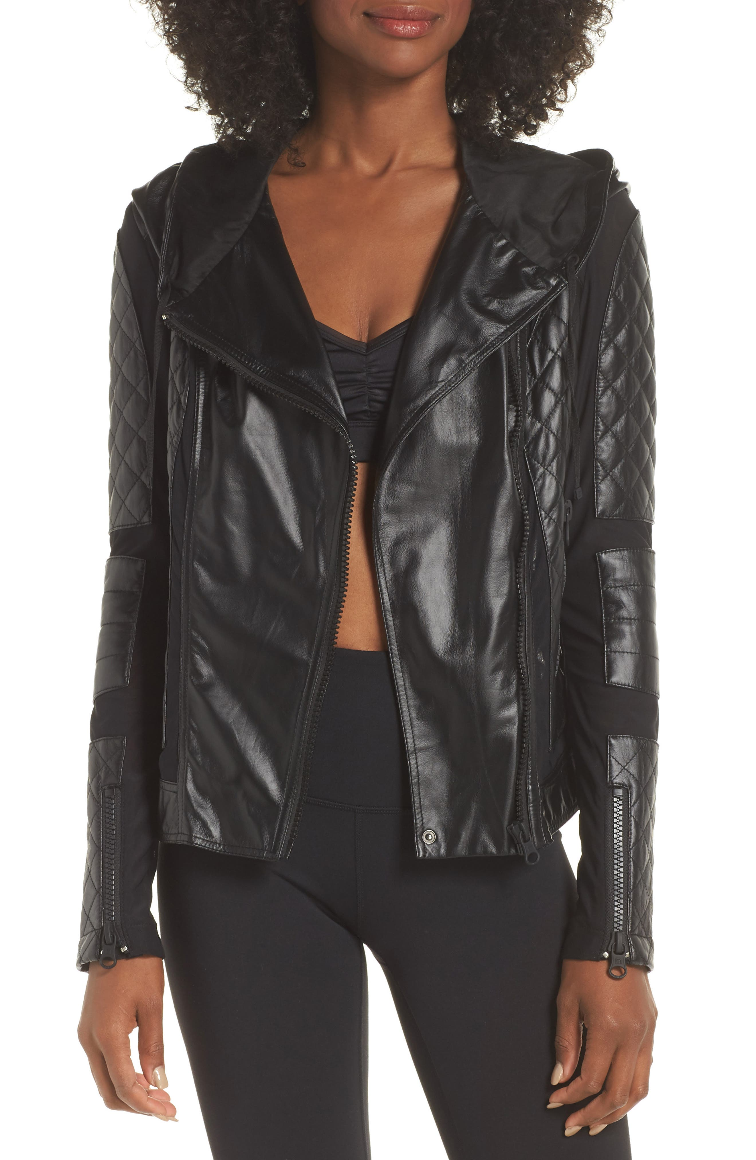 ,                             Voyage Hooded Leather & Mesh Moto Jacket,                             Main thumbnail 8, color,                             001