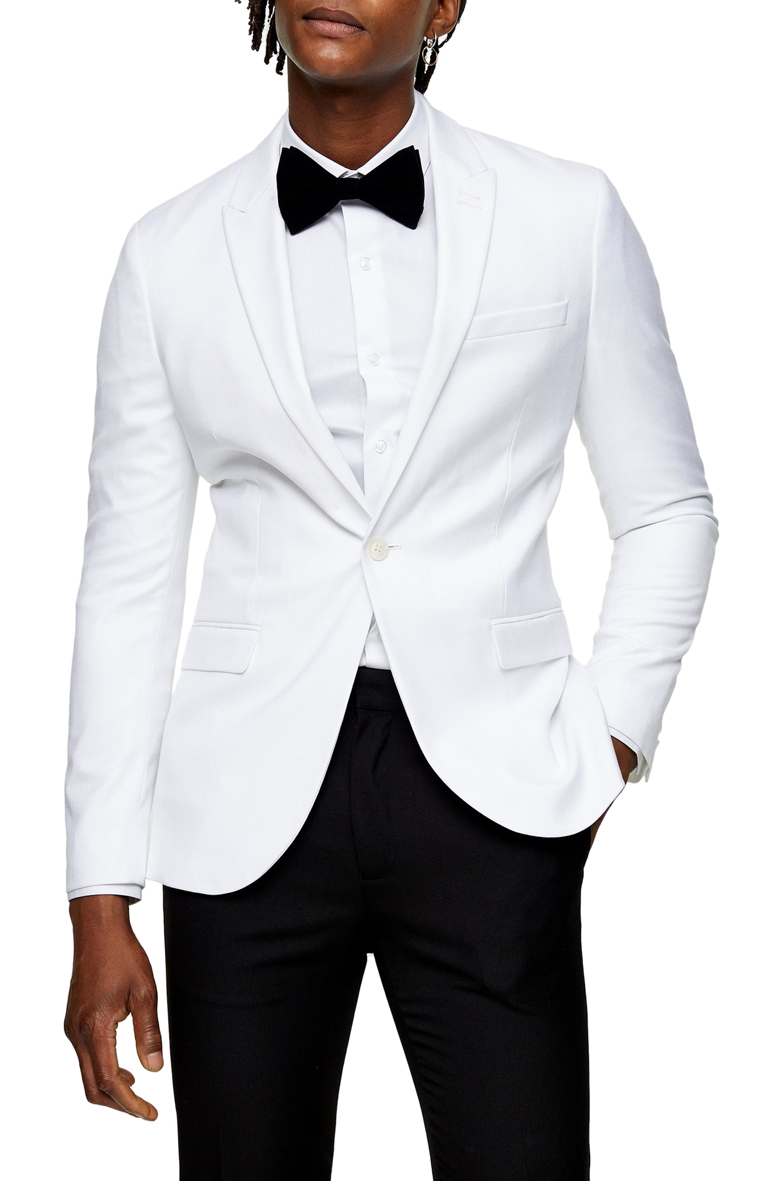 New Vintage Tuxedos, Tailcoats, Morning Suits, Dinner Jackets Mens Topman Dax Skinny Fit Blazer Size 46R - White $105.30 AT vintagedancer.com