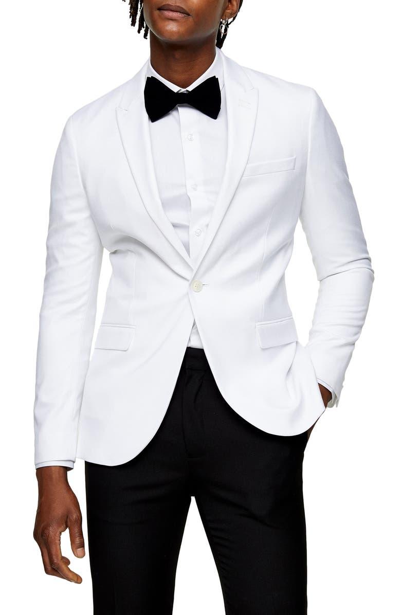 TOPMAN Dax Skinny Fit Blazer, Main, color, 100