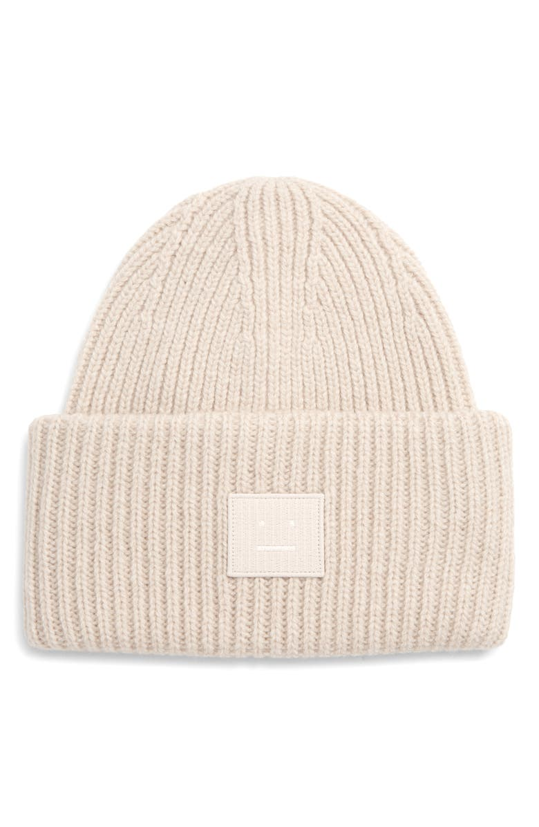 ACNE STUDIOS Pansy Face Patch Rib Wool Beanie, Main, color, CREAM BEIGE