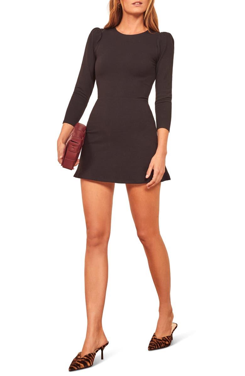 REFORMATION Trina A-Line Mini Dress, Main, color, BLACK