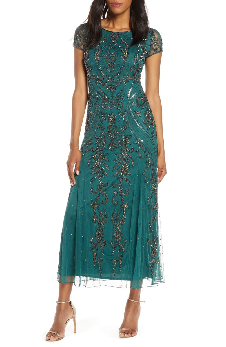 PISARRO NIGHTS Embellished Mesh Gown, Main, color, GREEN
