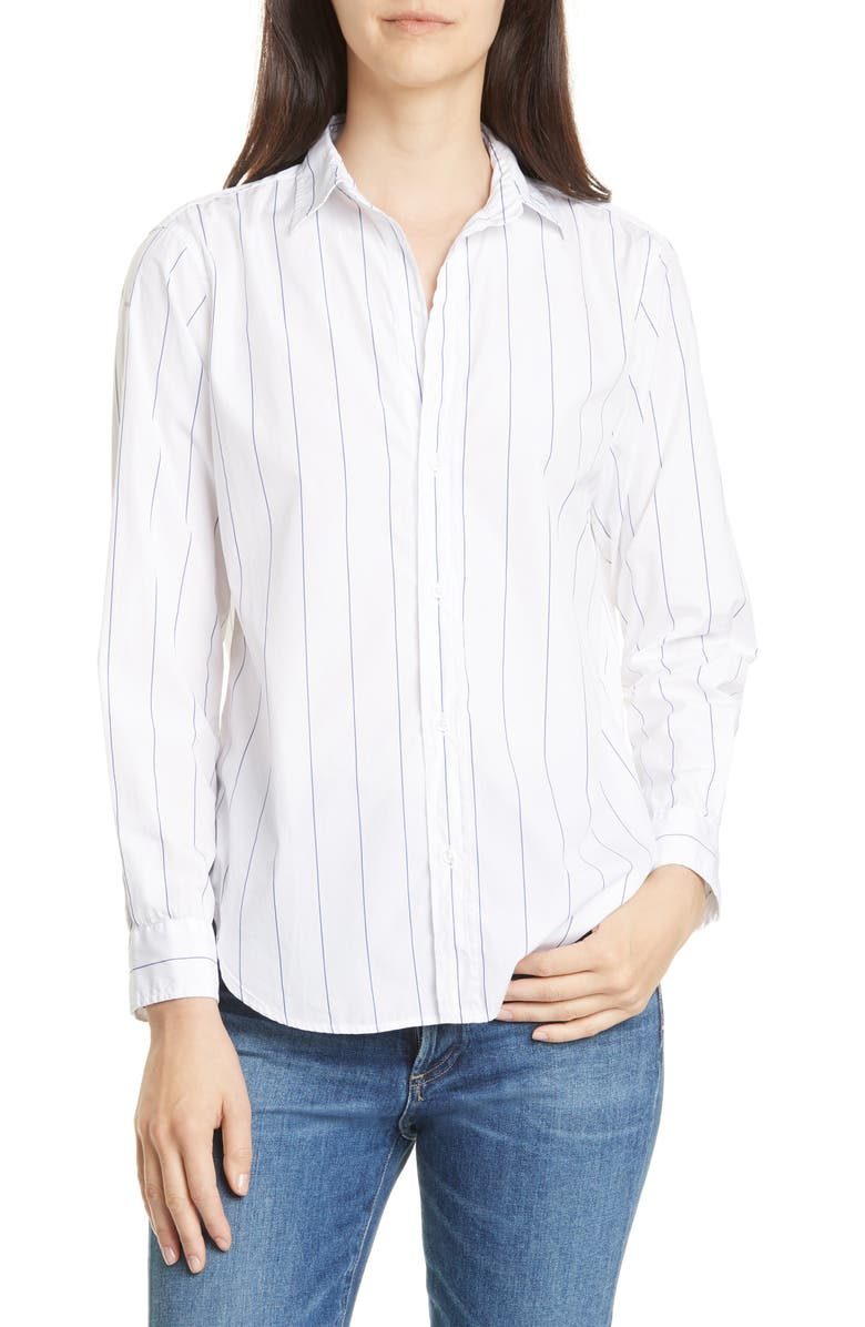 FRANK & EILEEN Frank Superfine Cotton Shirt, Main, color, WIDE THIN BLUE STRIPE